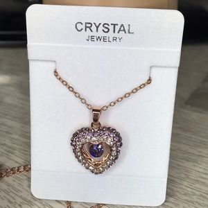 Stunning rose gold crystal jewelry heart necklace